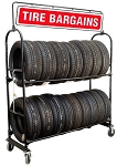 Two-Tier Tire Rack, 4 Casters with Swinging Sign & Lock Kit