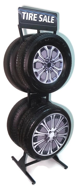 Slimline 124 Tire Floor Display, with 1-TIRE SALE & 1-REBATE Sign included